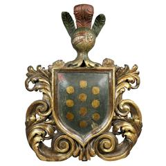 Italian Baroque Giltwood and Painted Coat of Arms