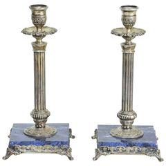 Antique 19th Century Pair of Italian Lapis Lazuli Candlesticks