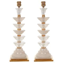 Pair of Art Deco Style Five-Tier Rock Crystal Table Lamps