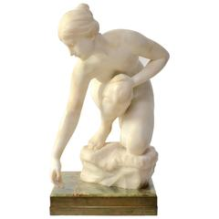 White Marble Sculpture of a Woman Signed Emil Cauer