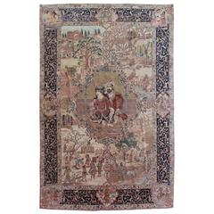 20th Century Rug Tabriz Wool and Silk, 1930, Iran, Signed