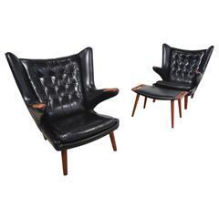 Hans Wegner Pair of Papa Bear Chairs and Ottoman in Black Leather