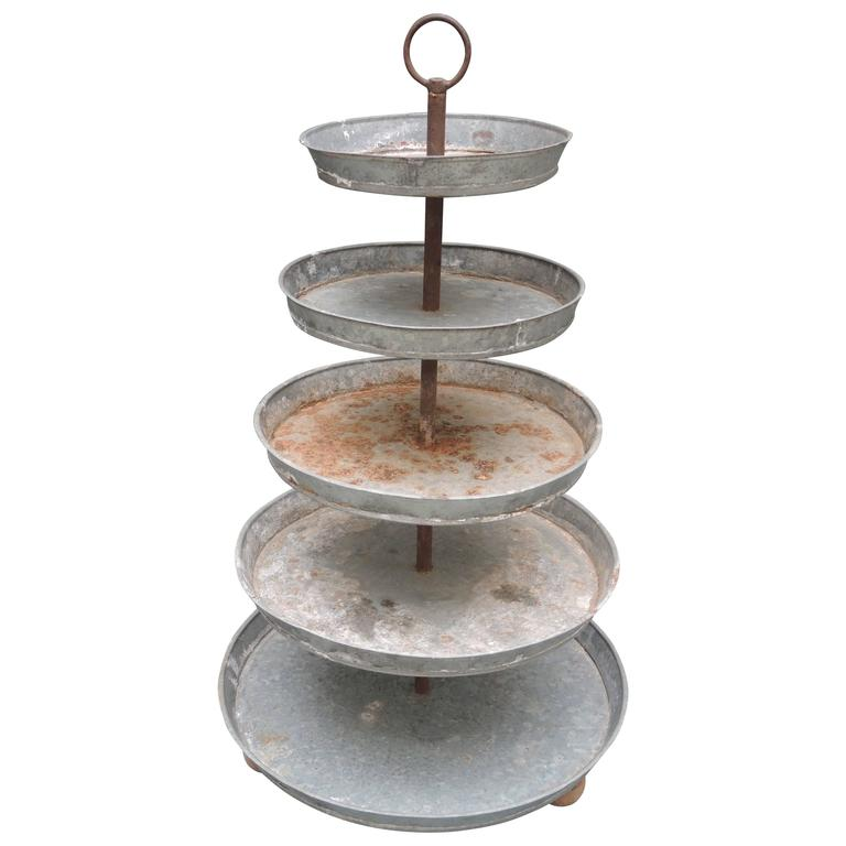 Vintage French Five-Tiered French Plant Stand Centerpiece