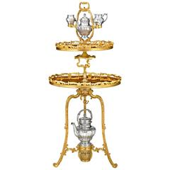 French Gilt Two-Tiered Tea Table