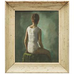 20th Century Oil Portrait of a Young Woman by Daniel Mistrik, 1960s