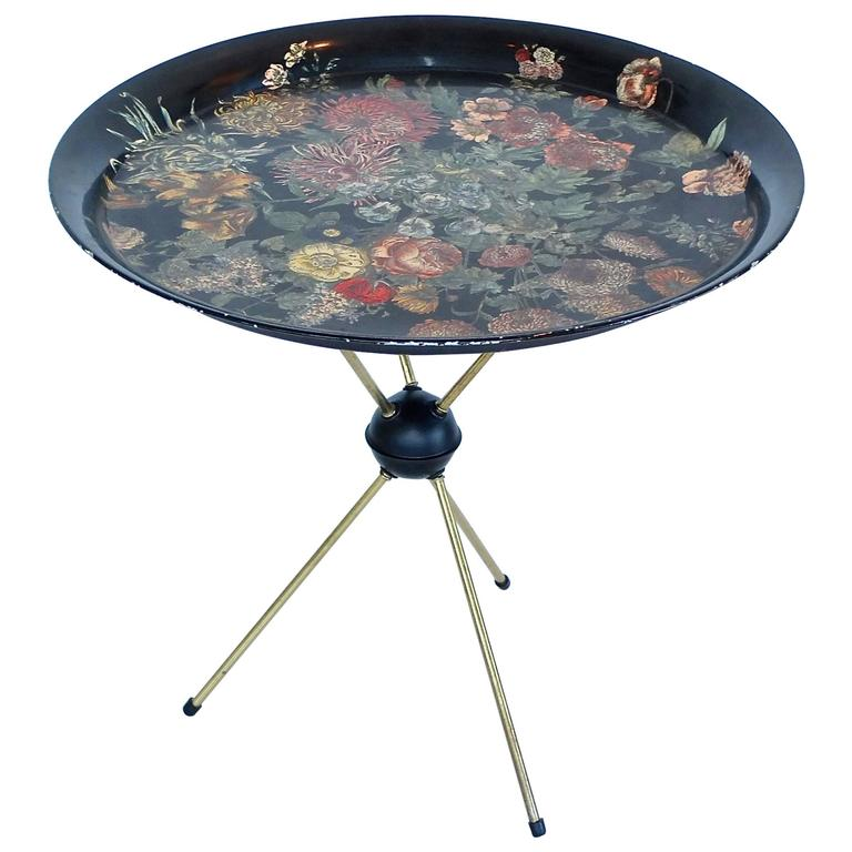 "Pietro Fornasetti ""Fiori"" Round Tole Tray on Tripod Table 1"