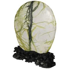 """""""Humble Strength"""" Chinese Greenery Stone with Finely Carved Stand"""