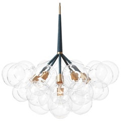Jumbo 29 Bubble Chandelier in Iris Blue Leather and Satin Brass by Pelle