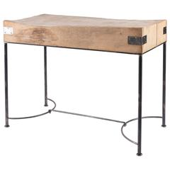 Vintage Butcher Block from France on Custom Iron Base