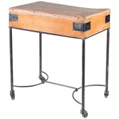 Vintage Butcher Block on Custom Base with Casters