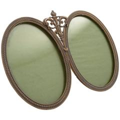 20th Century French Brass Double Photo Frame