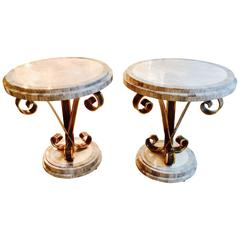 Pair of 1950s Side Tables in Wrought Iron and Marble