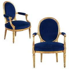 18th Century Louis XVI Period Pair of Giltwood Fauteuils