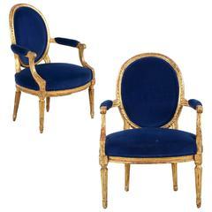 18th Century Louis XVI Period Pair of Giltwood Fauteuils