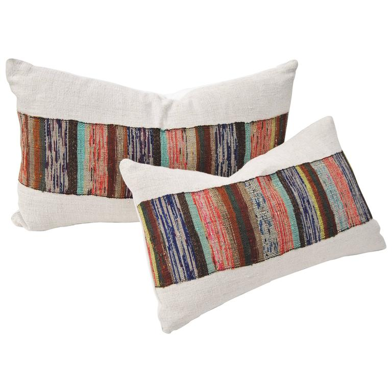 Custom Pair of Vintage Pillows Cut from a Hand Loomed Japanese Silk Sakiori Obi