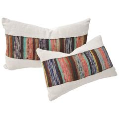 Custom Pair of Vintage Pillows Cut from a Hand Loomed Japanese Silk Sakiori Obi