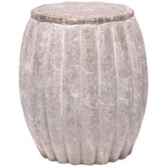 Chinese Melon Form Limestone Side Table
