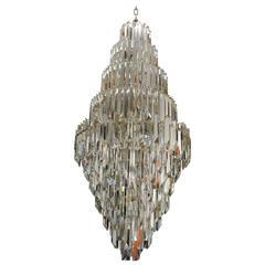 Mid-Century Modern Murano Glass Prism and Brass Foyer Chandelier