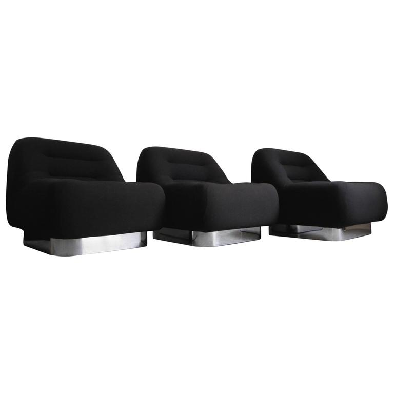 Three M.F. Harty Mod Mid Century Modern Chrome Modular Lounge Chairs For  Sale