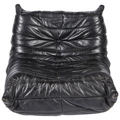Togo Black Leather Chair, Michel Ducaroy, Ligne Roset