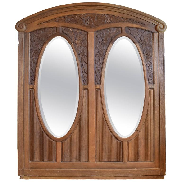Early 20th Century Carved Oak Frame with Bevelled Glass Mirrors For Sale