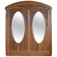 Early 20th Century Carved Oak Frame with Bevelled Glass Mirrors