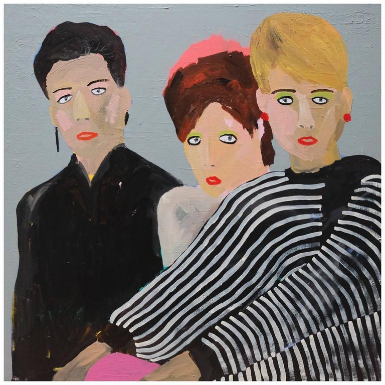 'The Human League,' 1980s Portrait Painting by Alan Fears Pop Art Music For Sale