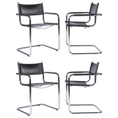 1920 Cantilevered Chrome Armchairs with black leather sling seat