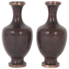 Handsome Pair of Vintage Chinese Cloisonné Vases