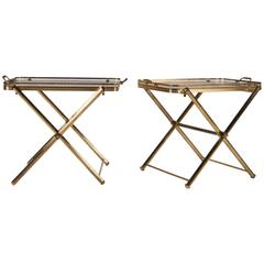 Pair of Brass and Glass Tray Tables