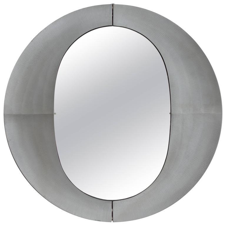 Large Etched Circular Aluminium Mirror by Lorenzo Burchiellaro, 1970 For Sale