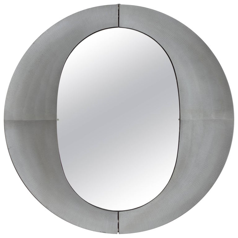 Large Etched Circular Aluminium Mirror by Lorenzo Burchiellaro, 1970 For Sale