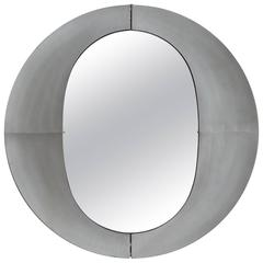 Large Etched Circular Aluminium Mirror by Lorenzo Burchiellaro, 1970
