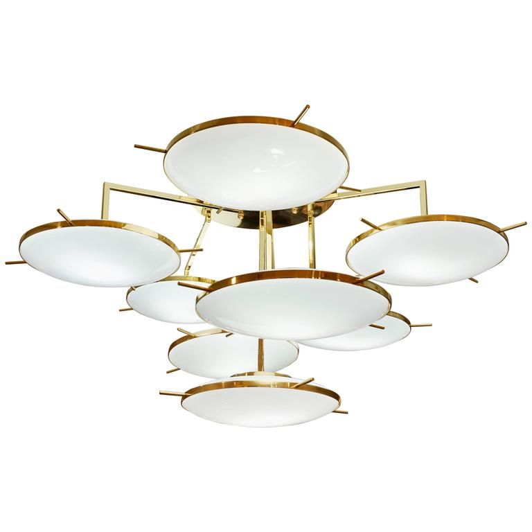 Italian Contemporary Multi Level Brass and White Murano Glass Disk Chandelier 1
