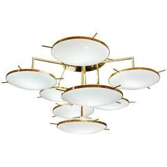 Italian Contemporary Multi Level Brass and White Murano Glass Disk Chandelier