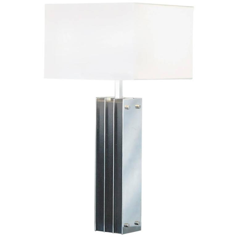Polished Aluminum and Black Wood Tall Table Lamp For Sale