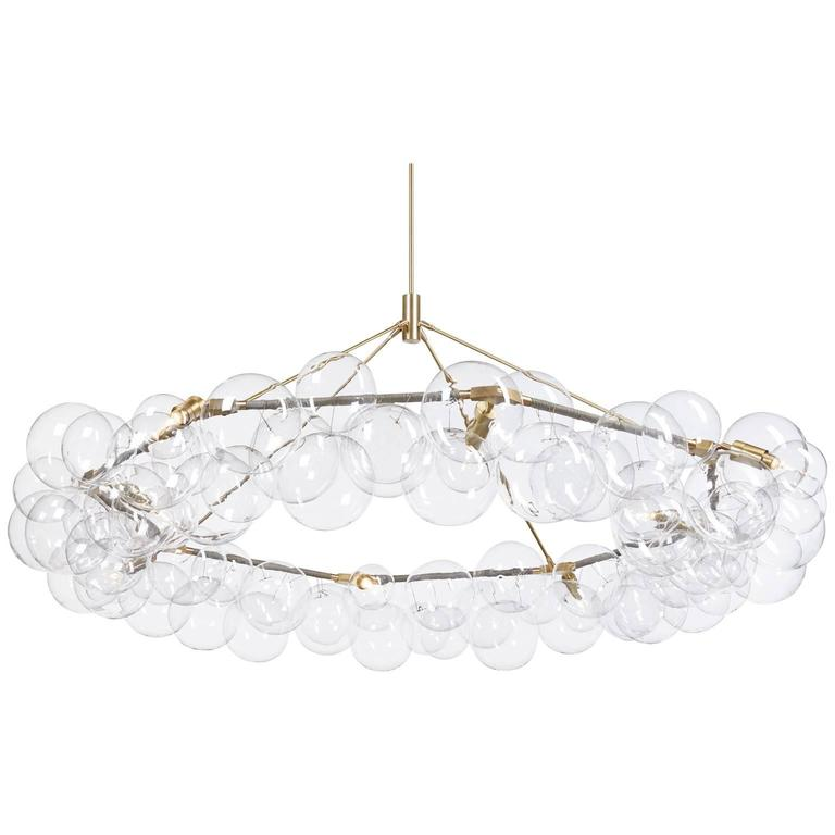 Wreath Bubble Chandelier in Grey Leather and Satin Brass by Pelle