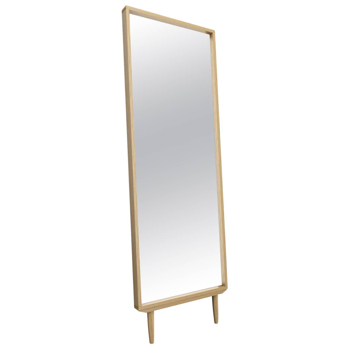 midcentury modern floor mirrors and fulllength mirrors   for  - solid white oak leaning modern floor mirror