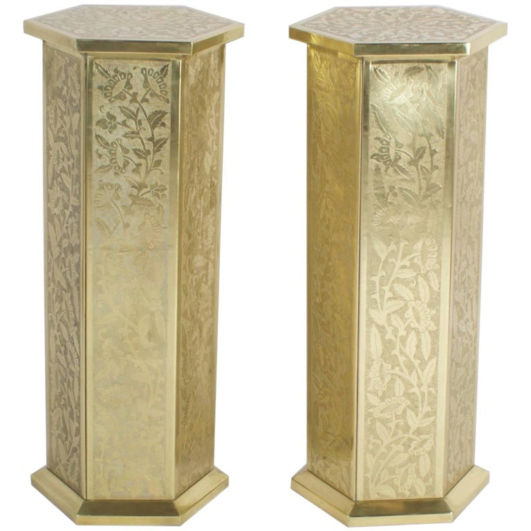 Anglo Indian or Moorish Pair of Brass Pedestals For Sale