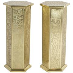 Anglo Indian or Moorish Pair of Brass Pedestals