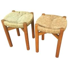 "Charlotte Perriand Rare Pair of Ash Tree and Rush Stools, Model ""Meribel"""