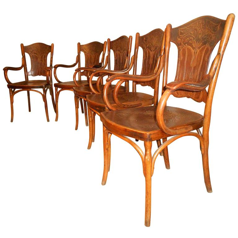 Art Nouveau Rare Set of Stamped Bentwood Kohn Armchairs, Vienna, 1900 For Sale