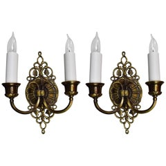 Pair of Cast Bronze Two Candle Signed Oscar Bach Sconce