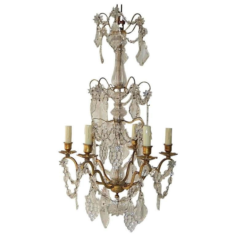 French Crystal Baccarat Style Grape Cluster Chandelier