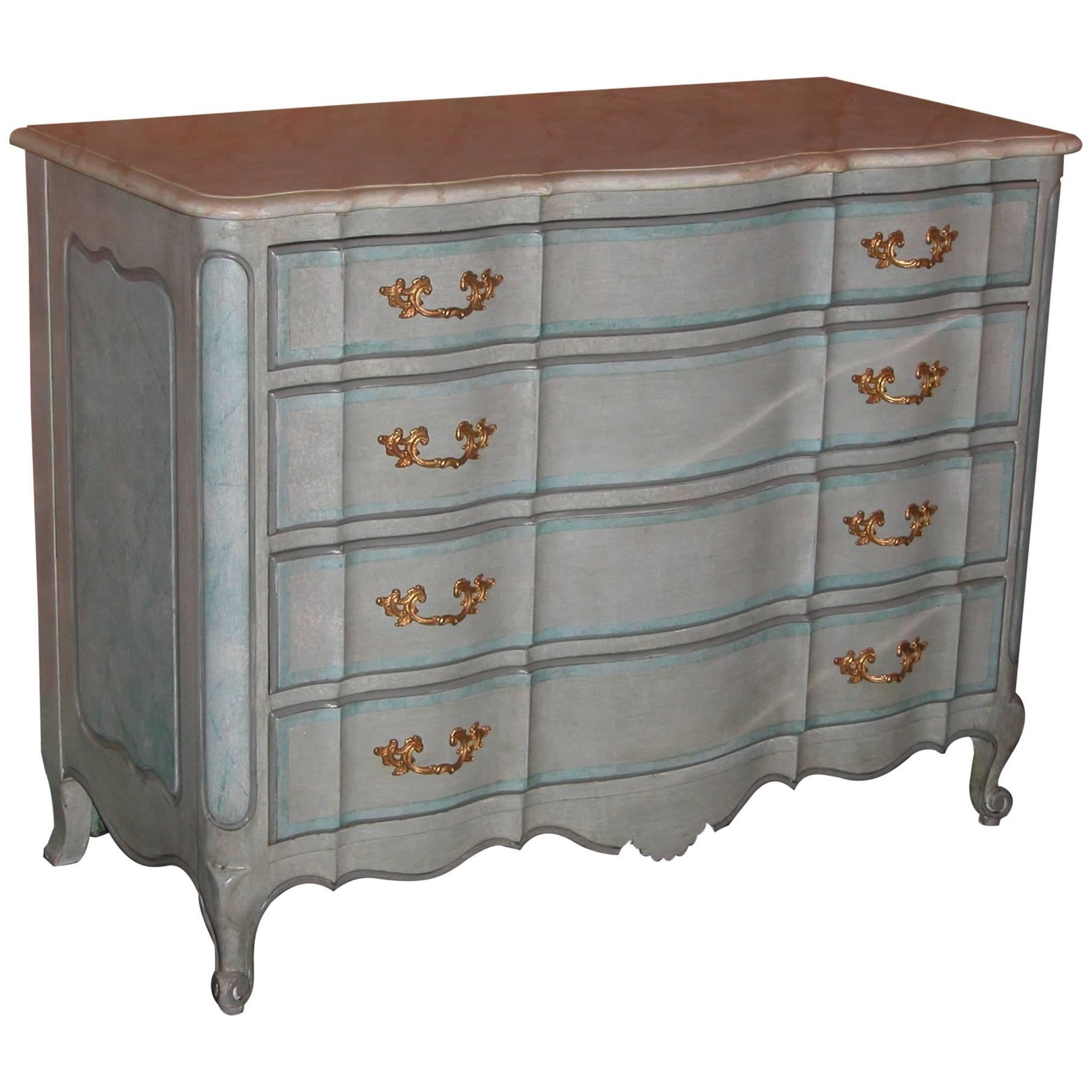 Louis XV Style Chest Drawers in Blue Painted Finish with Faux Marble Top, 1940s