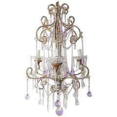 French Beaded Lavender Drops Chandelier, circa 1920