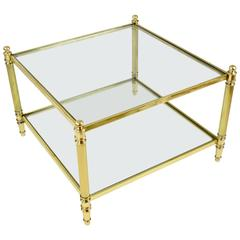 French Mid-Century Brass Coffee Table, 1970's