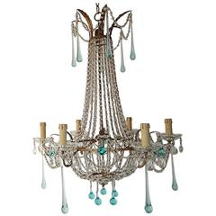 French Crystal Aqua Blue Drops Empire Chandelier, circa 1930