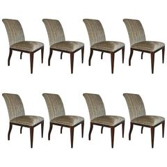 Set of Eight Rosewood Art Deco Style Dining Chairs