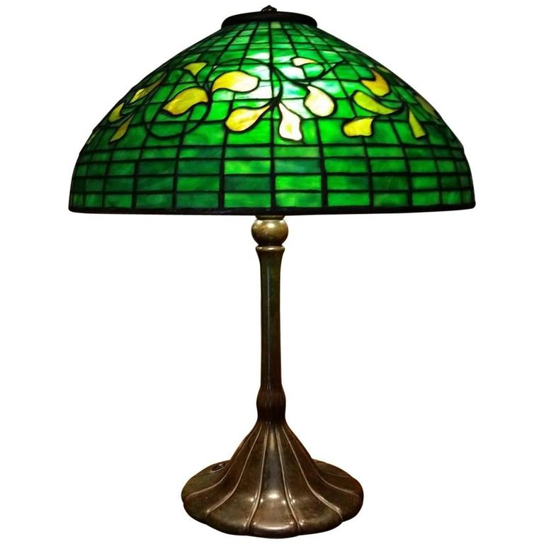 Rare tiffany table lamp in swirling leaf pattern for sale at 1stdibs rare tiffany table lamp in swirling leaf pattern for sale aloadofball Gallery